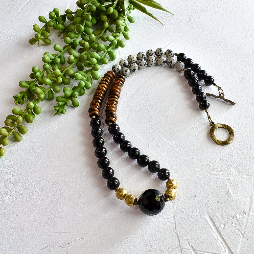 Black and Dalmatian Jasper Boho Necklace