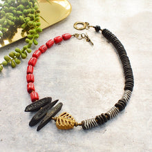 Load image into Gallery viewer, Asymmetrical Bamboo Coral and Recycled Glass Statement Necklace