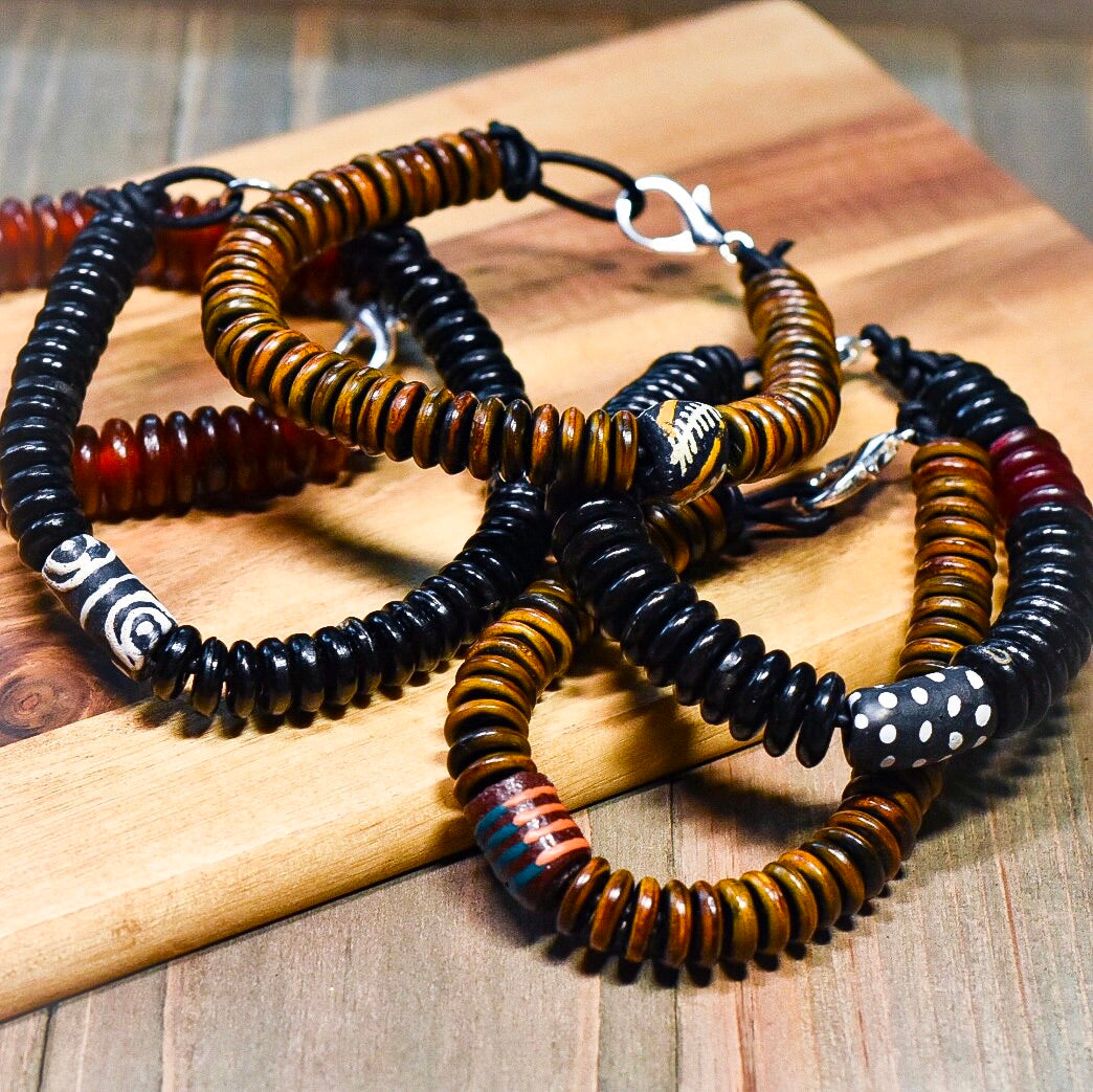 African Trade Bead and Horn Leather Bracelet (Made to Order) - Afrocentric jewelry