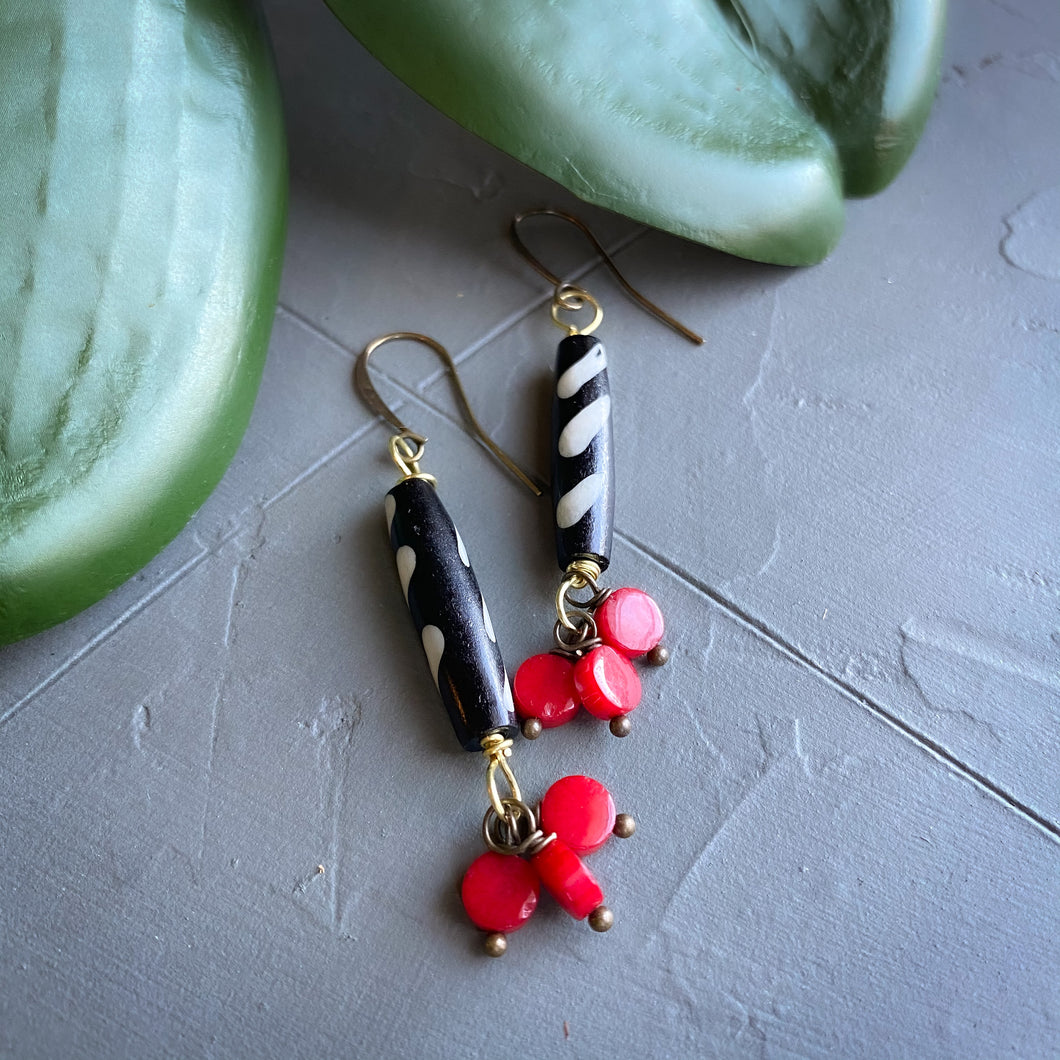 Black and Red Bubbles: Batik and Coral Drop Earrings