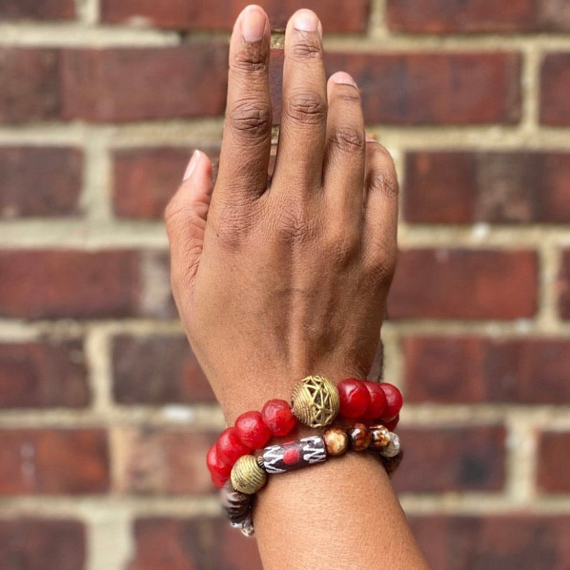 Red and Brown Beaded Bracelet Set