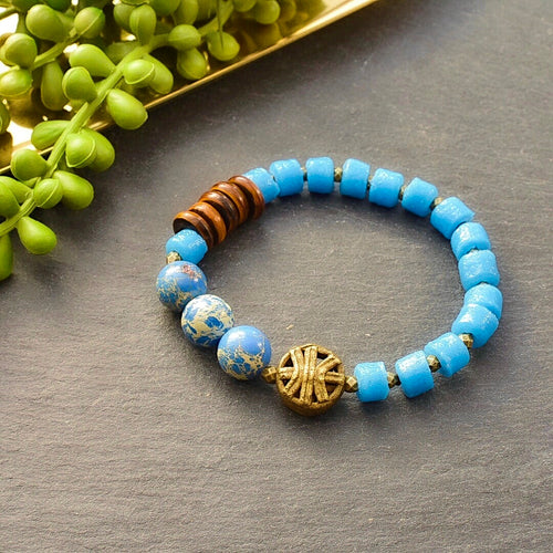 Petite Pool Blue African Beaded Bracelet - Afrocentric jewelry