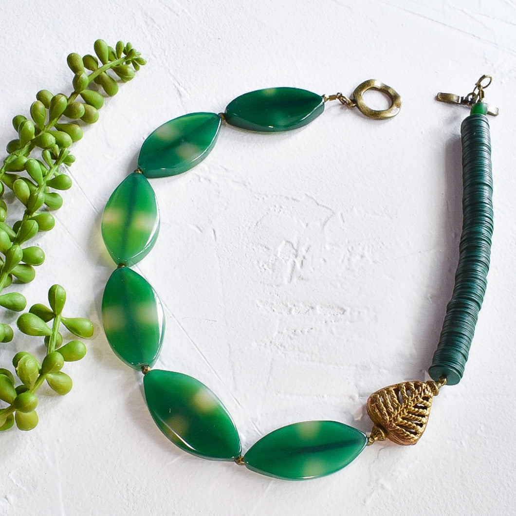 Asymmetrical Green Agate Necklace with Ashanti Brass