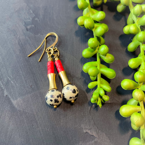Dalmatian Jasper Temple Earrings with Red Vinyl  Dangle