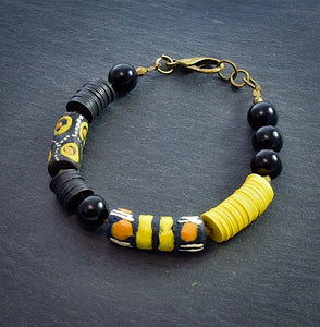 Refined Black, Yellow, Orange Trade Bead Bracelet #1 - Afrocentric jewelry