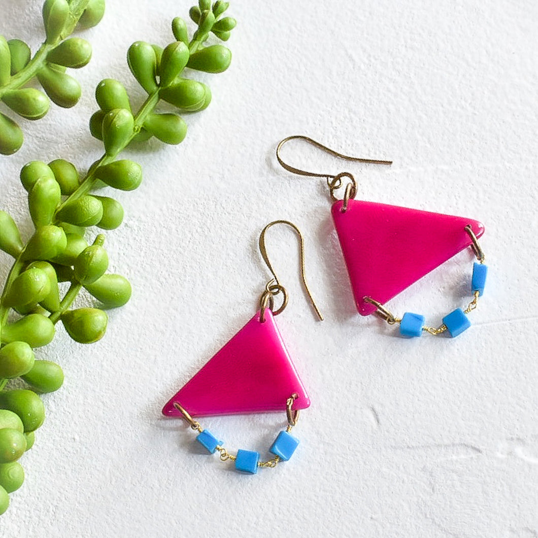 Pink Tagua Triangle Earrings