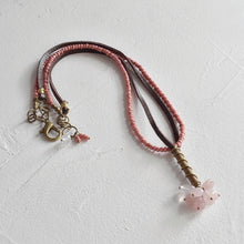 Load image into Gallery viewer, Rose Quartz and African Brass Drop Necklace