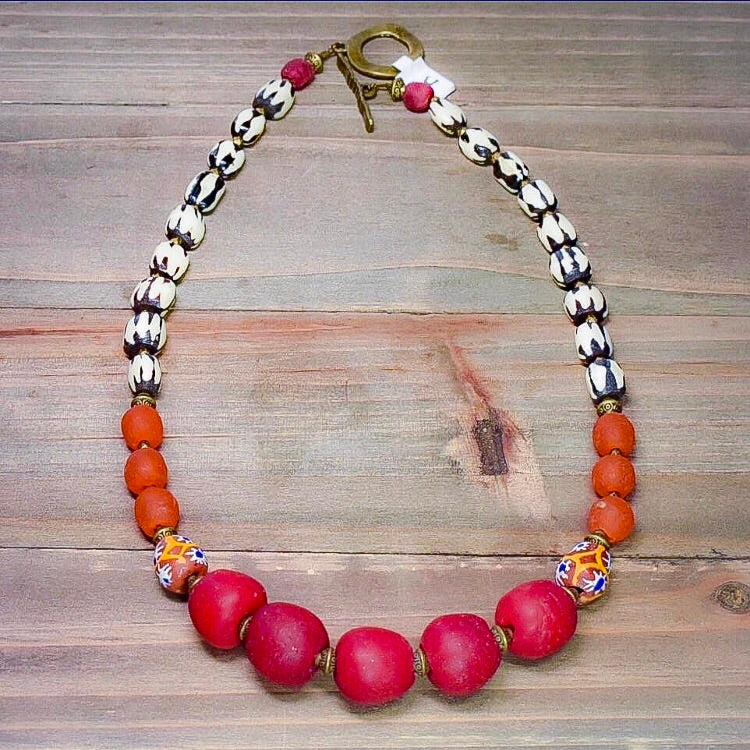 Red and Orange Afroboho Recycled Glass and Batik Bone Necklace - Afrocentric jewelry