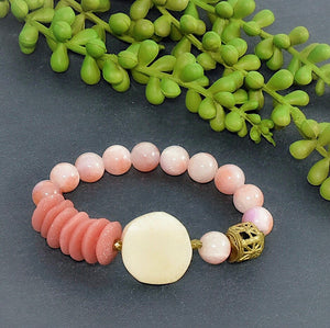 Kenyan Bone and Pale Pink Colored Jade Bracelet - Afrocentric jewelry