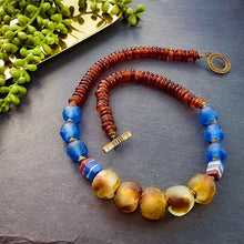Load image into Gallery viewer, Blue Recycled Glass and Tan Horn Necklace - Afrocentric jewelry