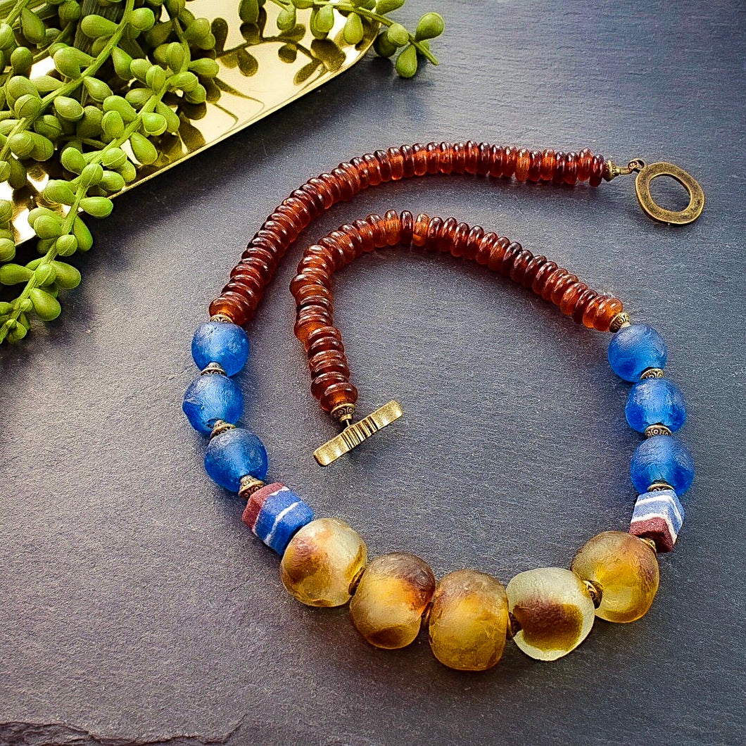 Blue Recycled Glass and Tan Horn Necklace - Afrocentric jewelry