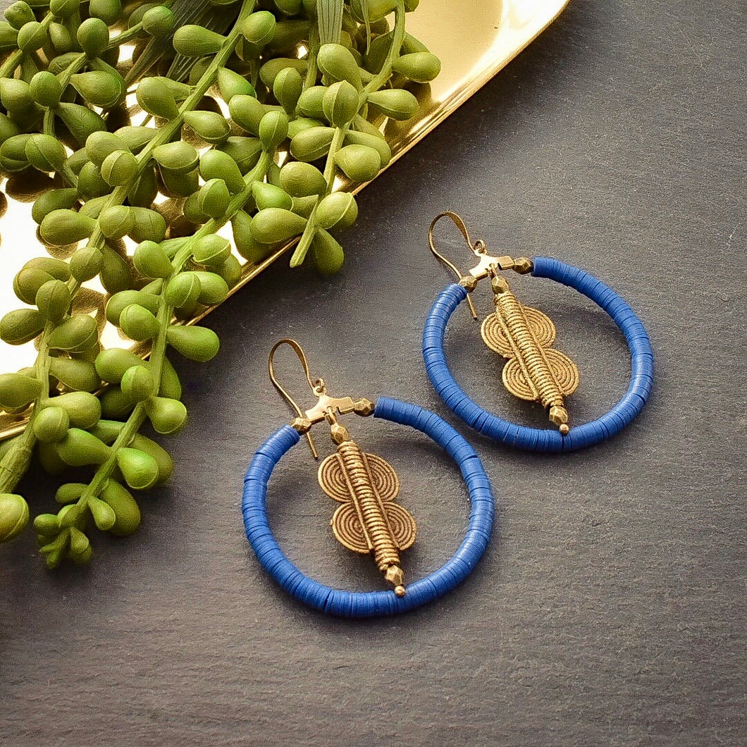 Blue Vinyl and Ashanti Brass Hoop Earrings - Afrocentric jewelry