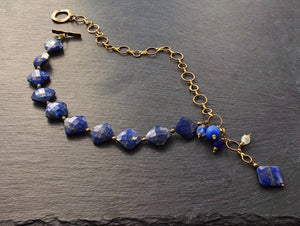 Faceted Lapis and Brass Lariat Necklace - Afrocentric jewelry