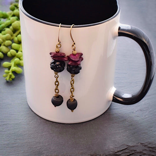 Burgundy and Black Dangle Recycled Glass Earrings - Afrocentric jewelry