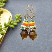 Load image into Gallery viewer, Multicolored Stacked Earrings with African Beads - Afrocentric jewelry