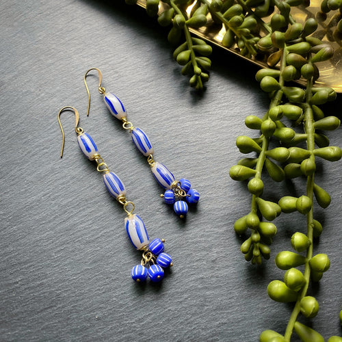 Elongated Blue and Grey Antique Cluster African Beaded Earrings