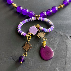 Purple Mobile Necklace with Recycled Vinyl and Charoite