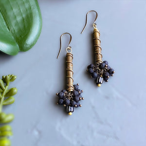 Black Bubbles: Lava Stone and African Brass Drop Earrings