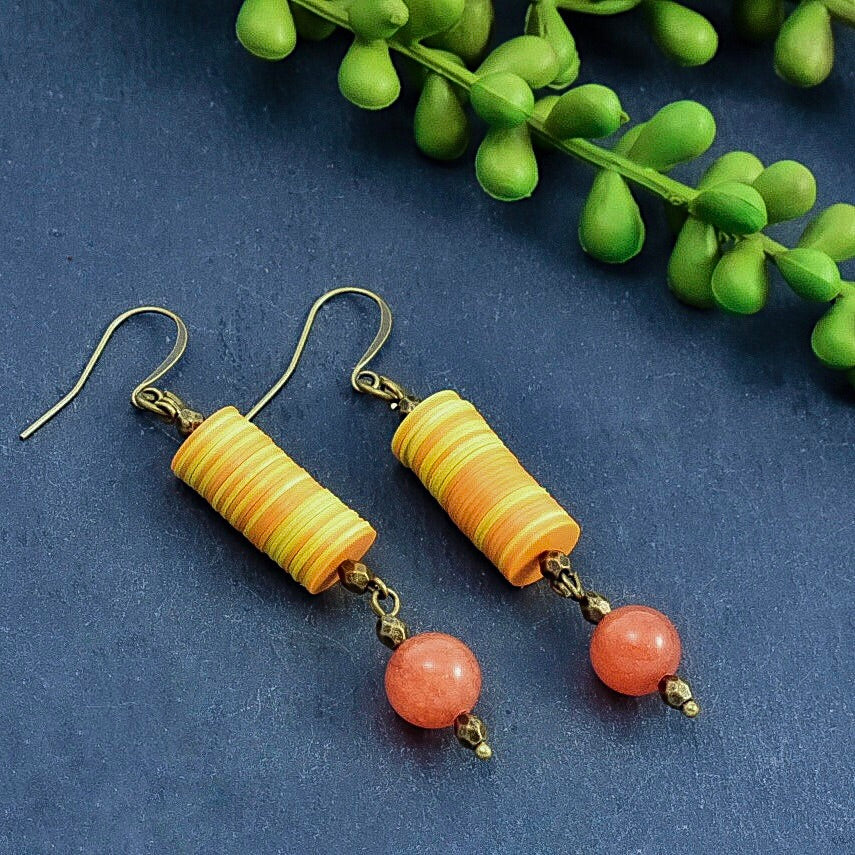 Carnelian and Orange/Yellow African Vinyl Dangle Earrings - Afrocentric jewelry