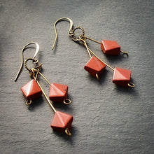 Load image into Gallery viewer, Red Jasper Triple Drop Earrings - Afrocentric jewelry