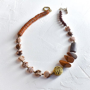 Brown Zebra Jasper, Brass and Wood Necklace