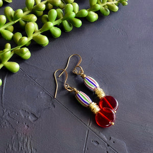 Blue, Red and Green Antique African Earrings