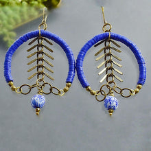 Load image into Gallery viewer, Blue Recycled Vinyl Fishbone Hoop Earrings