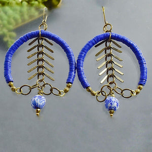 Blue Recycled Vinyl Fishbone Hoop Earrings