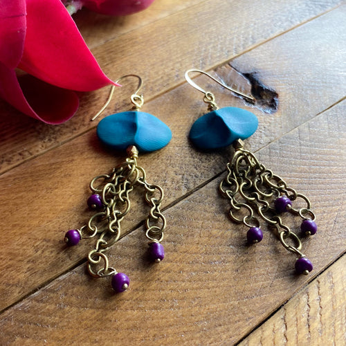 Green and Purple Tentacles Earrings