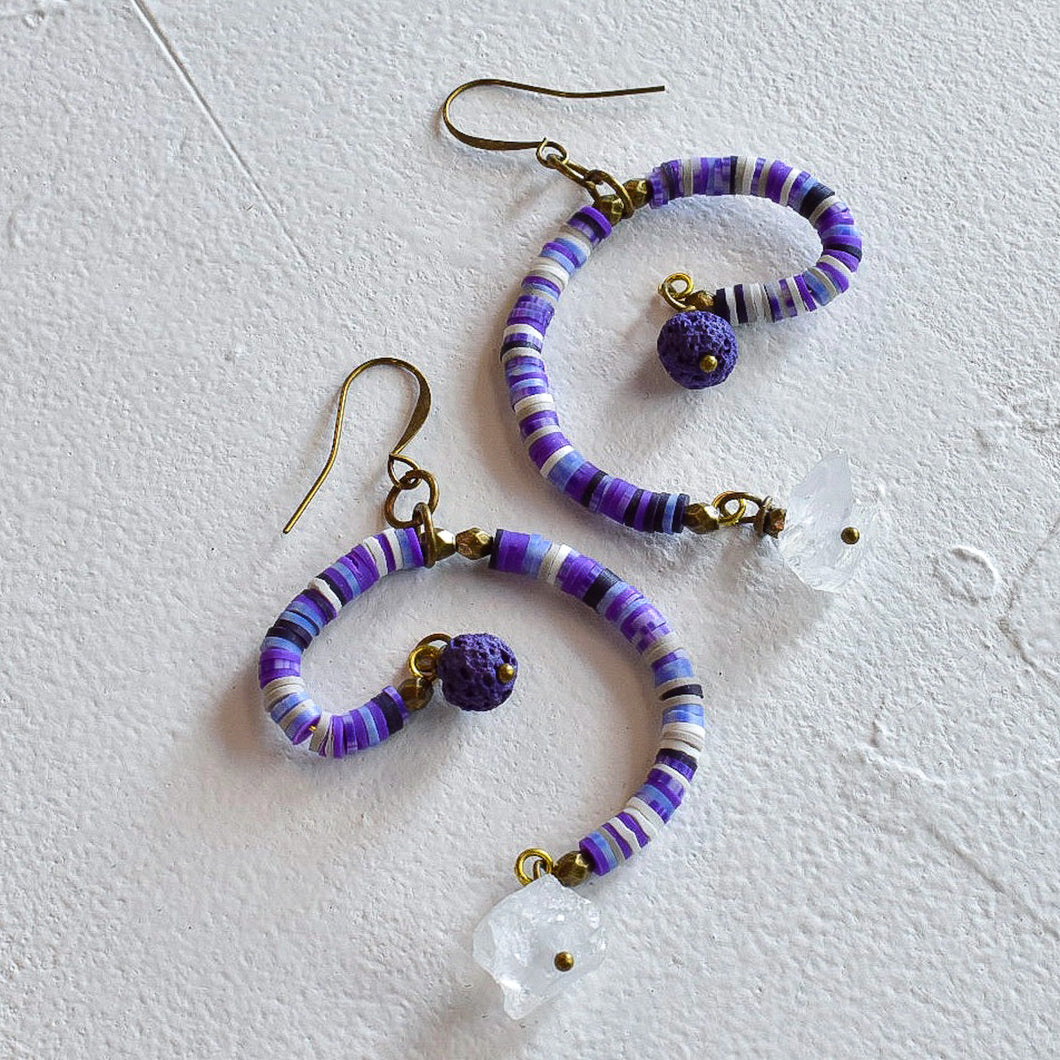 Purple Mobile Earrings with Recycled Vinyl and Quartz
