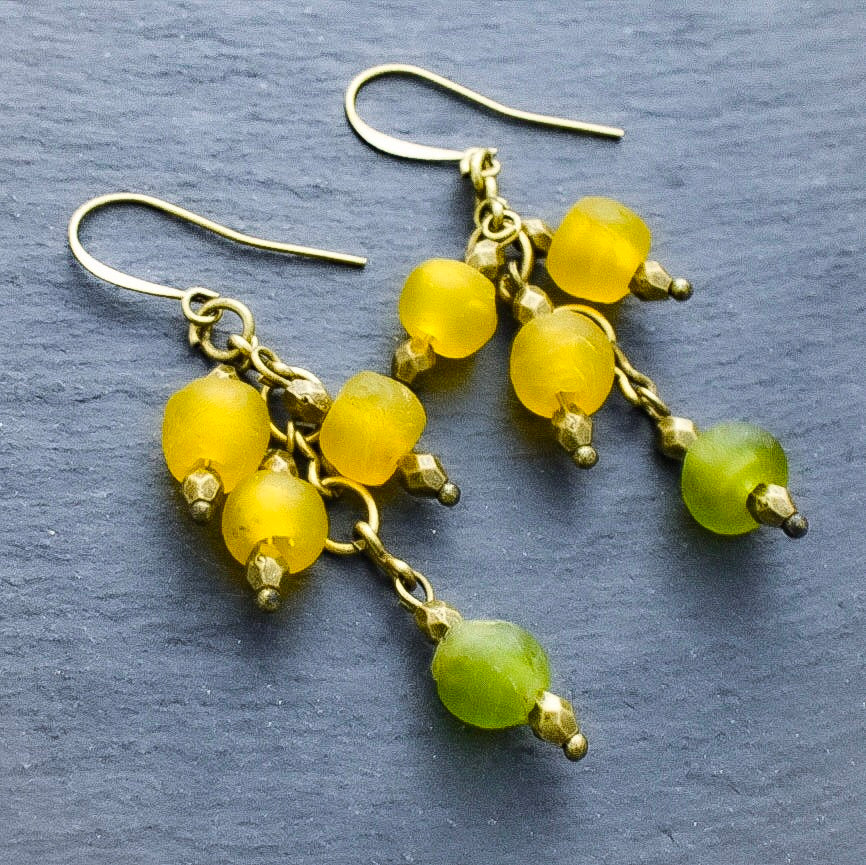 Yellow and Green African Trade Bead Waterfall Earrings - Afrocentric jewelry