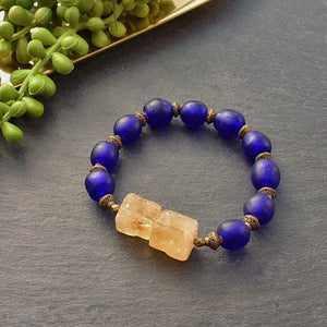 Citrine and Bright Blue Trade Bead Chunky Bracelet - Afrocentric jewelry