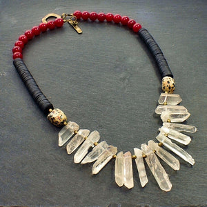 Quartz Forward: Dalmatian Jasper, Vinyl, Red Jade Necklace - Afrocentric jewelry