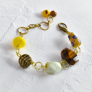 Tiger's Eye and Yellow African Beaded Charm Bracelet