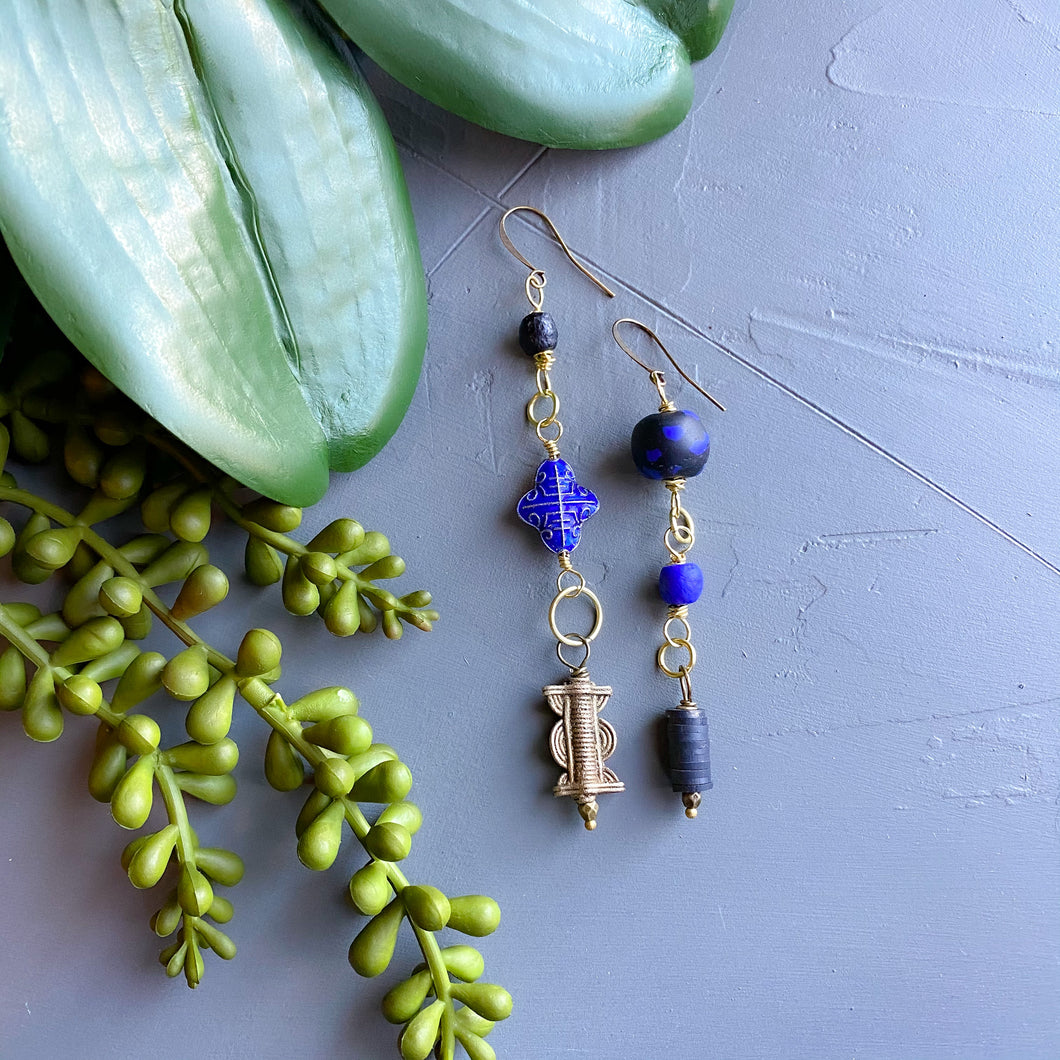 Bright Blue Asymmetrical Diva Swing Earrings