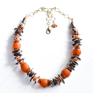 Orange and Brown Batik Statement Necklace (pre-order)