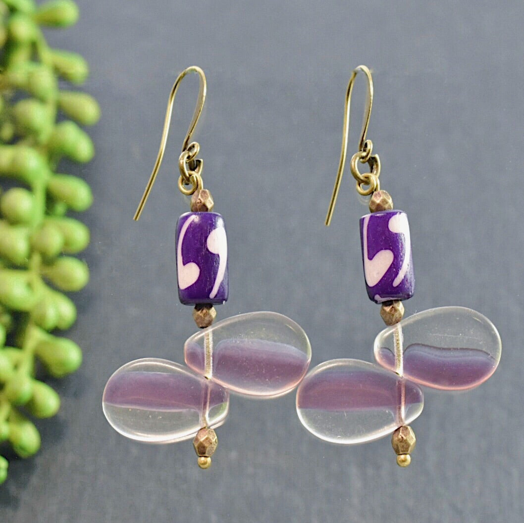 Purple Mali Wedding Bead Earrings - Afrocentric jewelry