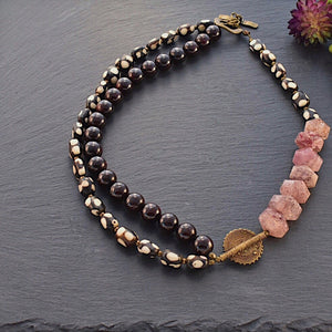 Garnet and Strawberry Rutilated Quartz Afrobohemian Necklace - Afrocentric jewelry