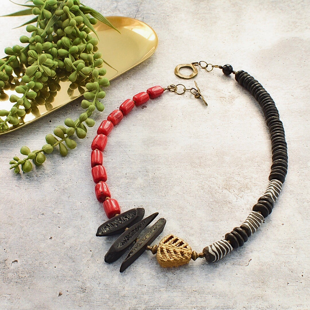 Asymmetrical Bamboo Coral and Recycled Glass Statement Necklace - Afrocentric jewelry