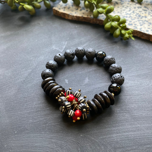 Black and Red Cluster African Beaded Bracelet