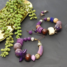 Load image into Gallery viewer, Purple Chunky Bracelet with Tagua and African Beads