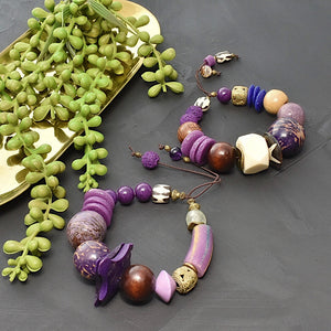 Purple Chunky Bracelet with Tagua and African Beads