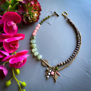 Jasper and Prehnite Helix Afrobohemian Necklace (Made to Order)