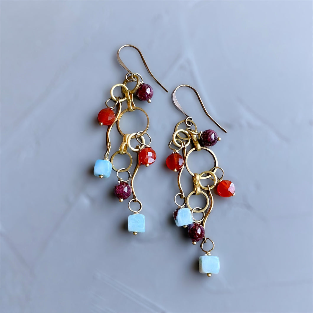 Larimar and Carnelian Stylized Earrings