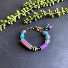Load image into Gallery viewer, Purple and Teal African Beaded Toggle Bracelet