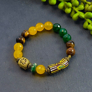 Brown and Green African Beaded Bracelet - Afrocentric jewelry