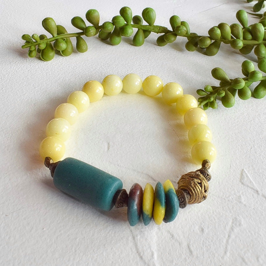 Yellow and Teal African Beaded Bracelet
