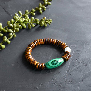 Malachite and Horn Beaded Bracelet