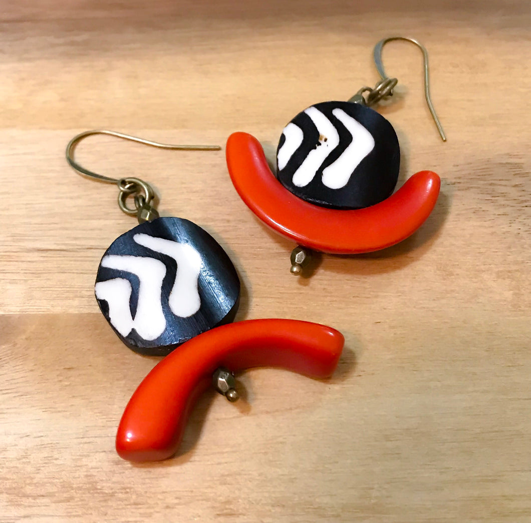 C-Saw Abstract Mismatched Tagua and Batik Earrings - Afrocentric jewelry