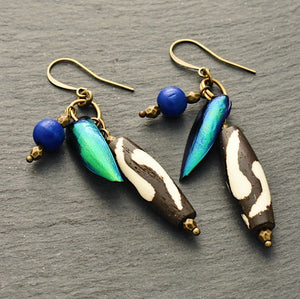 Take Flight Earrings #2: Iridescent Green and Blue Earrings - Afrocentric jewelry